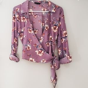 Mine Purple Floral Long Sleeve Cross Tied Blouse